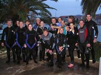Croatia Diving: Divers getting reayd for the nightdive